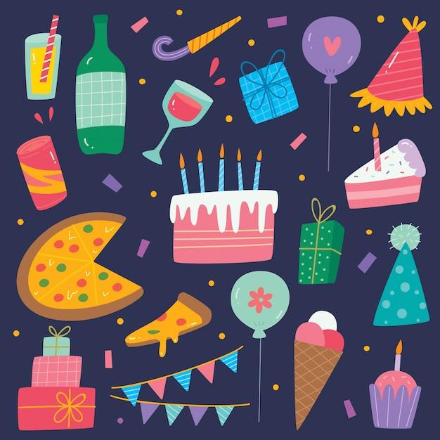 Zestaw Elementów Słodkie Urodziny Ręcznie Rysowane Premium Wektorów