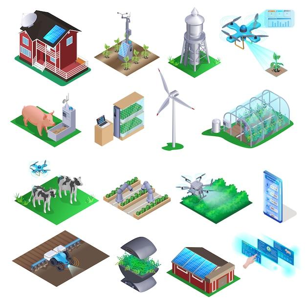 Zestaw elementów smart farm. Premium Wektorów