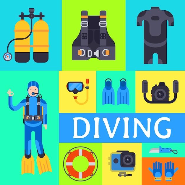 Zestaw Elementów Sportu Podwodnego Nurkowania. Sprzęt Do Nurkowania Z Akwalungiem. Premium Wektorów