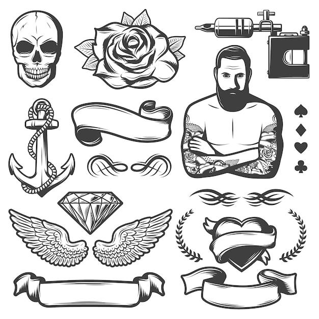 Zestaw Elementów Studio Tatuażu Vintage Szkic Szkicu Darmowych Wektorów