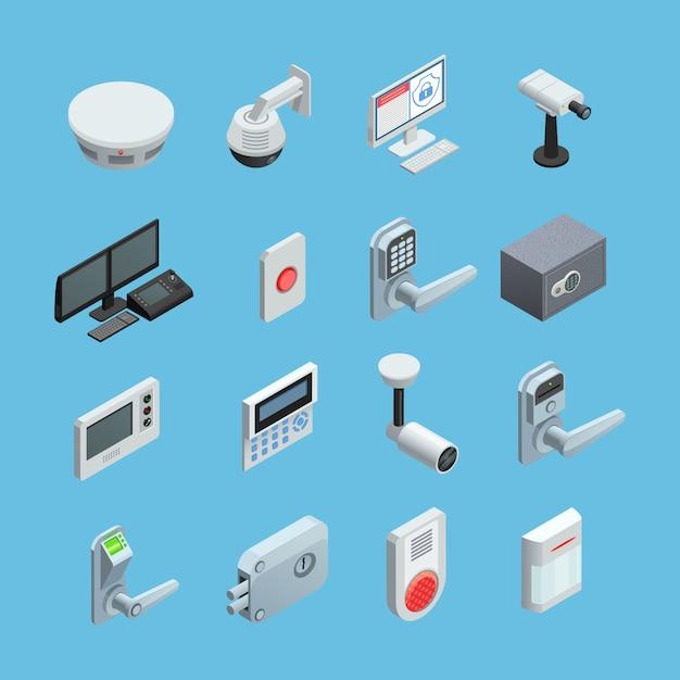 Zestaw Elementów Systemu Bezpieczeństwa Domowego Darmowych Wektorów