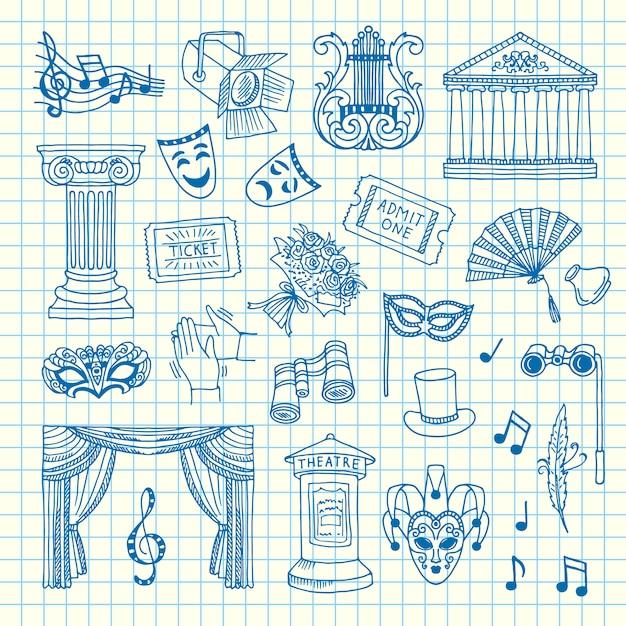 Zestaw elementów teatru doodle na ilustracji arkusza komórek Premium Wektorów