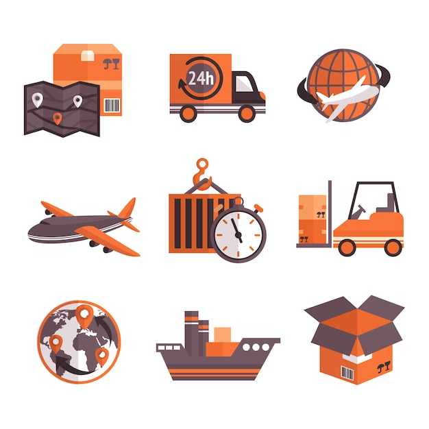 Zestaw elementów usług logistycznych Darmowych Wektorów
