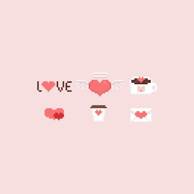 Zestaw Elementów Valentine Pikseli Premium Wektorów