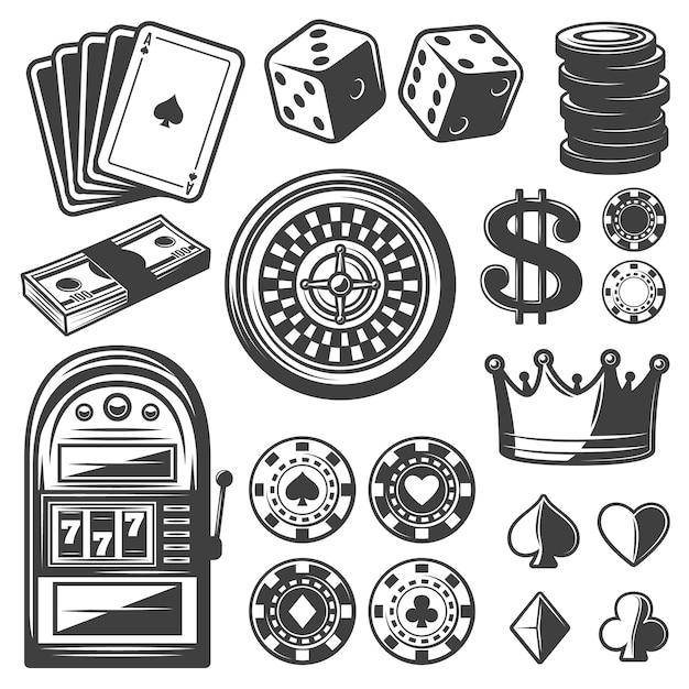 Zestaw Elementów Vintage Casino Darmowych Wektorów