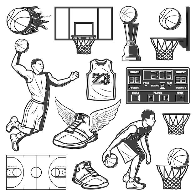 Zestaw Elementów Vintage Koszykówki Darmowych Wektorów