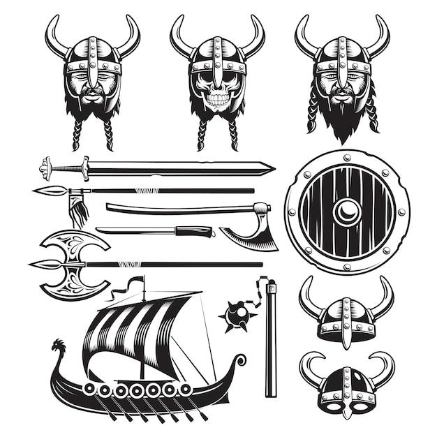 Zestaw Elementów Vintage Viking Darmowych Wektorów