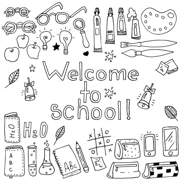 Zestaw elementów zabawny szkoła wektor. czarny i biały Premium Wektorów
