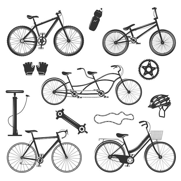 Zestaw elementów zabytkowych rowerów Darmowych Wektorów