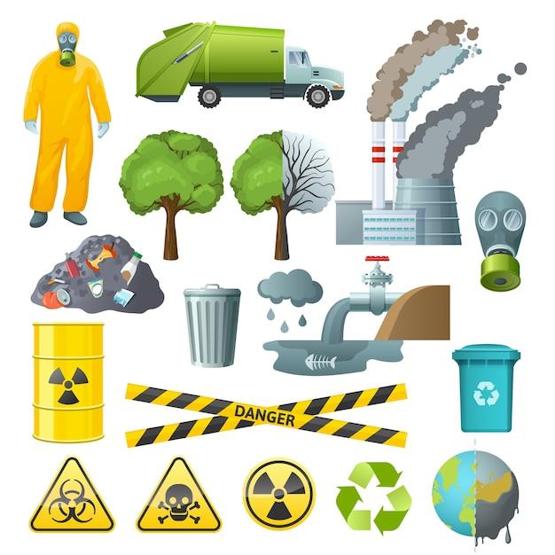Zestaw Elementów Zanieczyszczenia środowiska Darmowych Wektorów