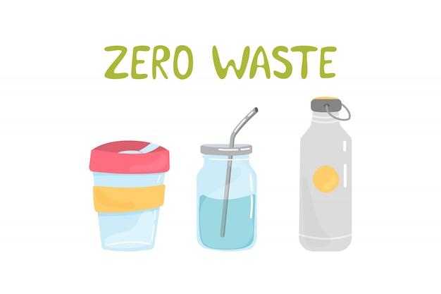Zestaw Elementów Zero Odpadów Premium Wektorów