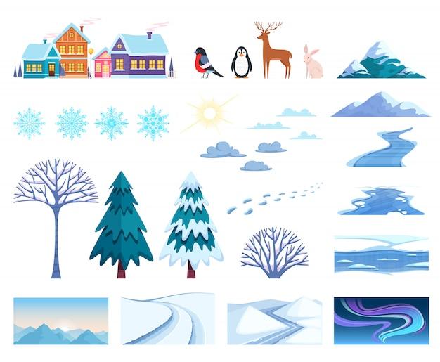 Zestaw elementów zimowego krajobrazu Darmowych Wektorów