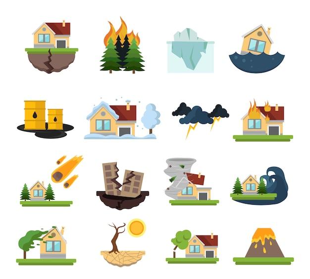 Zestaw Elementów Zniszczeń Katastrofy Darmowych Wektorów