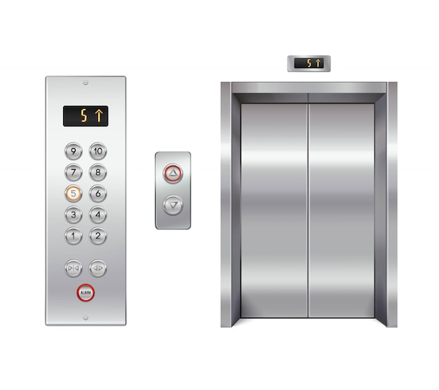 Zestaw elewatorów z zamkniętymi drzwiami i panelem przycisków Darmowych Wektorów