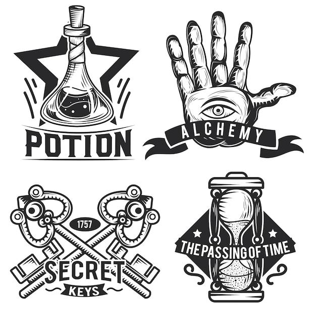 Zestaw Emblematów Alchemicznych, Etykiet, Odznaki, Logo. Premium Wektorów