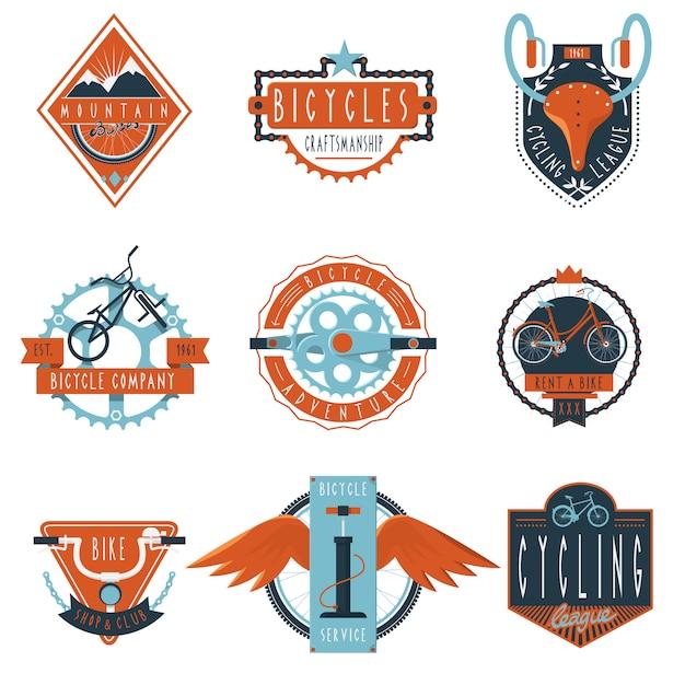 Zestaw emblematów etykiety klubu rowerowego Darmowych Wektorów