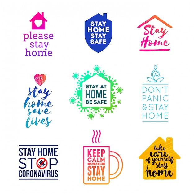 Zestaw Emblematów I Logo Z Hasłem - Zostań W Domu. Logo W Innym Stylu - Zostań W Domu. Premium Wektorów