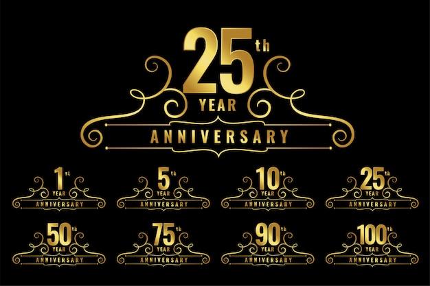 Zestaw emblematów logo rocznicy premium Darmowych Wektorów