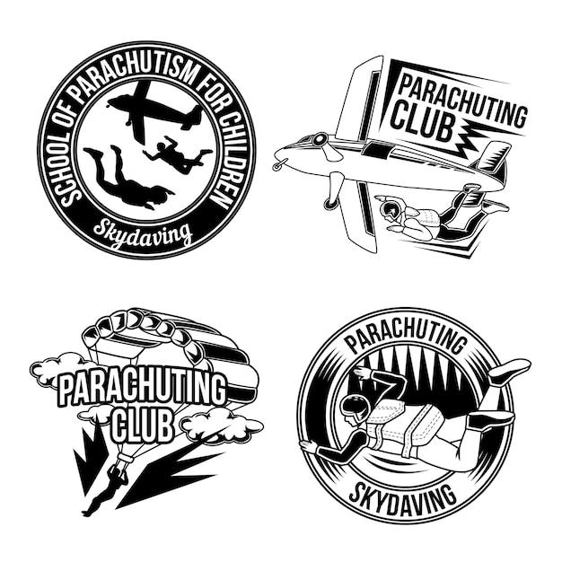 Zestaw Emblematów, Logo, Spadochroniarstwo. Na Białym Tle Darmowych Wektorów