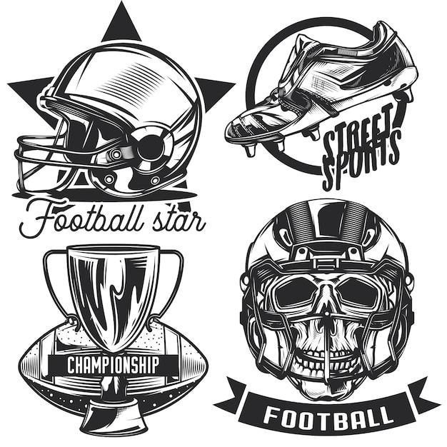 Zestaw Emblematów Piłkarskich, Etykiet, Odznak, Logo. Na Białym Tle Darmowych Wektorów