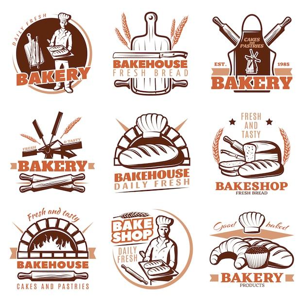 Zestaw Emblematów Pomarańczowy Piekarnia Darmowych Wektorów