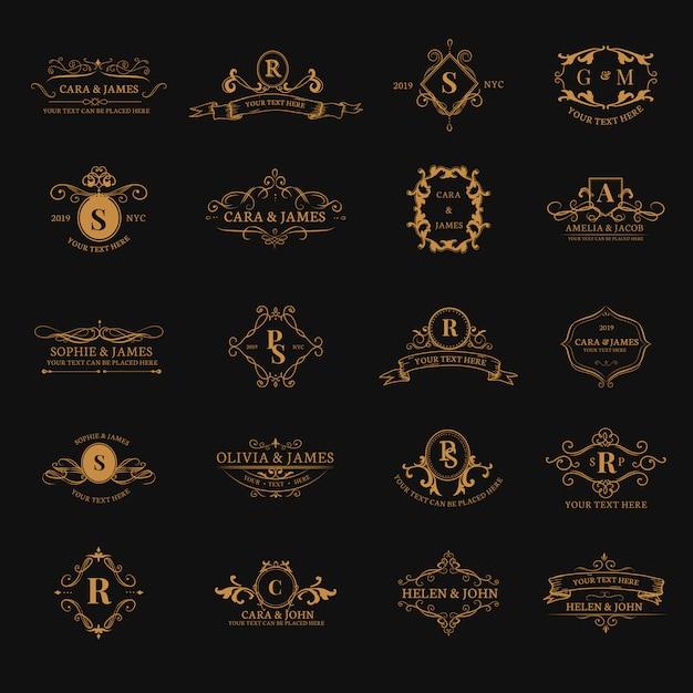 Zestaw Emblematów Z Inicjałami Darmowych Wektorów