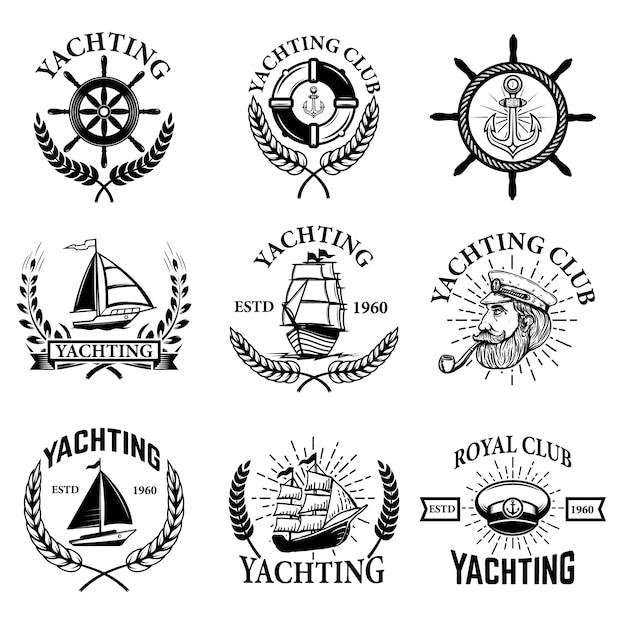 Zestaw Emblematów żeglarstwo Na Białym Tle. Klub żeglarski, łódki. Elementy Logo, Etykiety, Godła, Znaku. Ilustracja Premium Wektorów