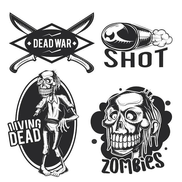 Zestaw Emblematów Zombie, Etykiet, Odznaki, Logo. Darmowych Wektorów