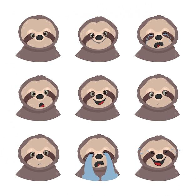 Zestaw emocji leniwców. emoji odizolowywający na białym tle. Premium Wektorów