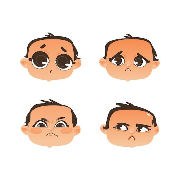 Zestaw emocji wyraz twarzy dziecka Premium Wektorów