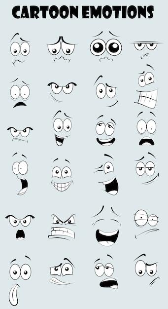 Zestaw Emocjonalne Twarze śmieszne Kreskówki Premium Wektorów