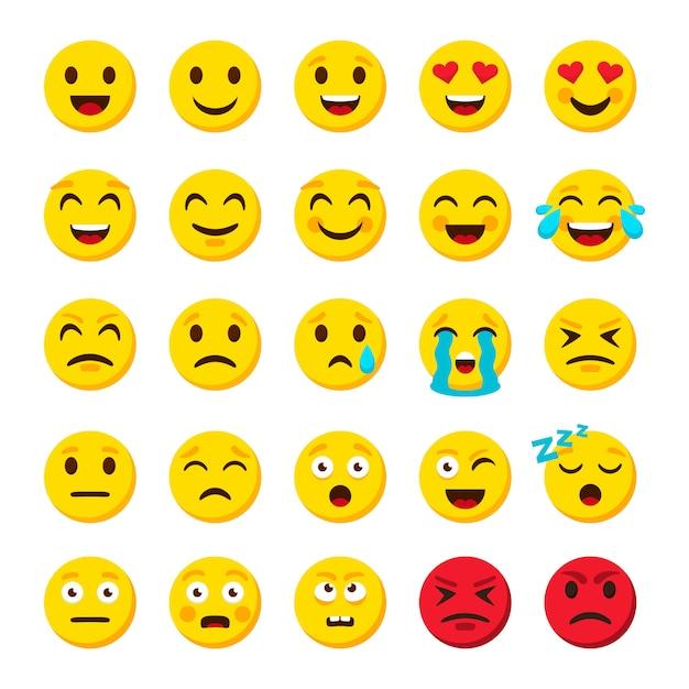Zestaw Emotikonów. Emotikon Kreskówka Emotikony Symbole Cyfrowe Czat Obiektów Ikony Premium Wektorów