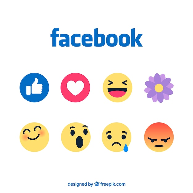 Zestaw emotikonów facebook w stylu płaski Darmowych Wektorów