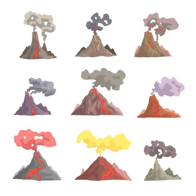 Zestaw Erupcji Wulkanu, Wysadzenie Magmy Wulkanicznej, Lawa Spływająca Z Kreskówek Premium Wektorów
