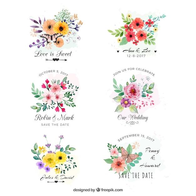 Zestaw etykiet akwarelowych z kwiatami Darmowych Wektorów