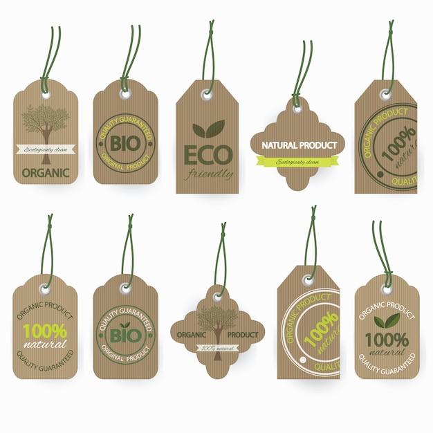 Zestaw Etykiet Bio Bio Z Tektury Ekologicznej. Premium Wektorów