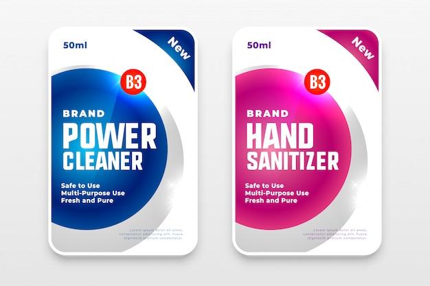Zestaw Etykiet Detergentu Do Prania I środka Dezynfekującego Do Rąk Darmowych Wektorów