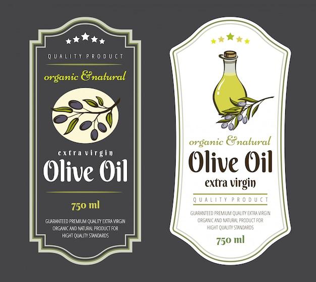 Zestaw Etykiet Do Oliwy Z Oliwek. Elegancki Design Do Pakowania Oliwy Z Oliwek. Premium Wektorów