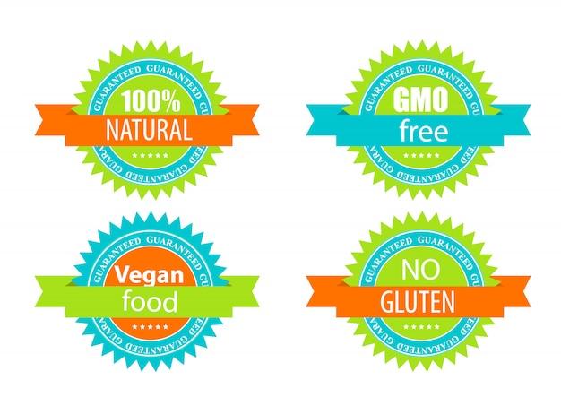 Zestaw Etykiet Gmo Free, Natutal, Vegan Food I Gluten Premium Wektorów