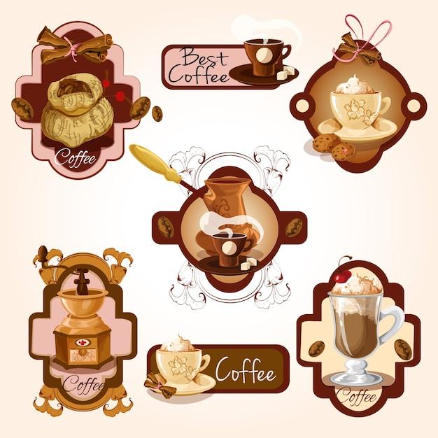 Zestaw etykiet kawy Darmowych Wektorów