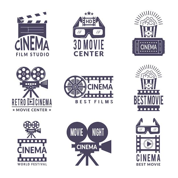 Zestaw etykiet kinowych. odznaki z czarnymi obrazami w branży kinowej i produkcji wideo Premium Wektorów