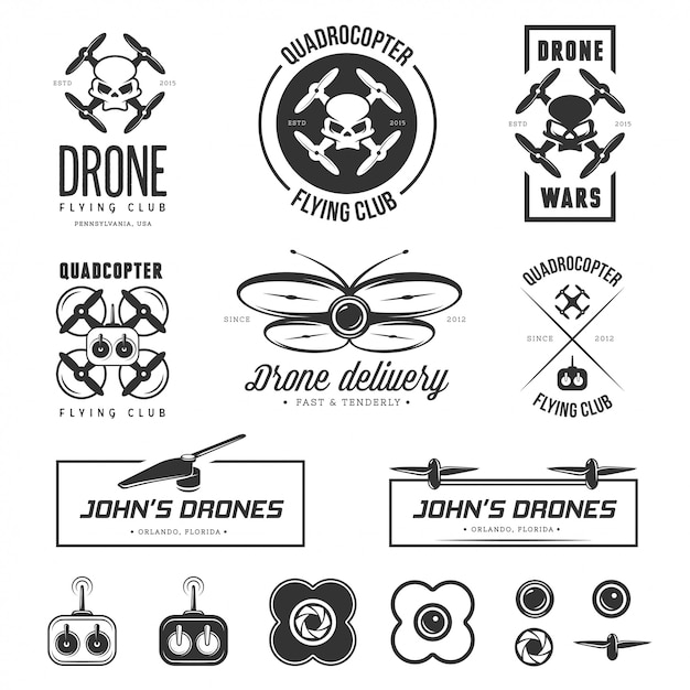 Zestaw etykiet latającego drona, odznaki, elementy. Premium Wektorów