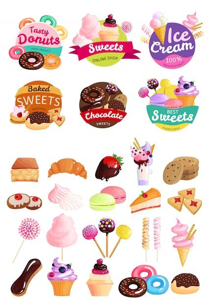 Zestaw Etykiet Modnych Słodyczy Darmowych Wektorów