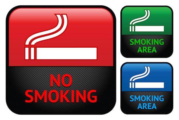 Zestaw Etykiet Naklejek Zakaz Palenia Premium Wektorów