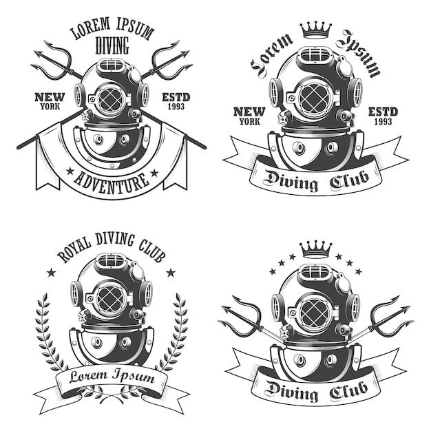 Zestaw Etykiet Nurkowych, Emblematów I Zaprojektowanych Elementów Darmowych Wektorów