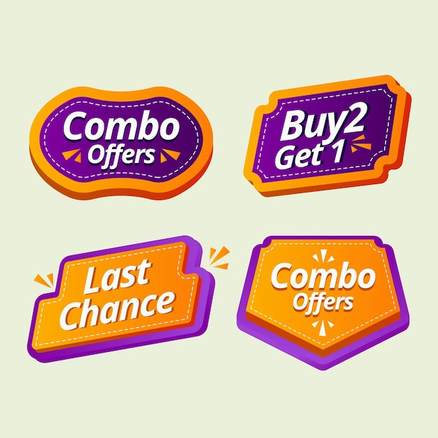 Zestaw Etykiet Posiłków Combo Premium Wektorów