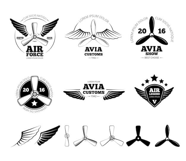 Zestaw Etykiet Rocznika Samolotu, Herby I Symbole. Pieczęć Lotnictwa, Lot Skrzydłem, Ilustracja Wektorowa śmigła Darmowych Wektorów