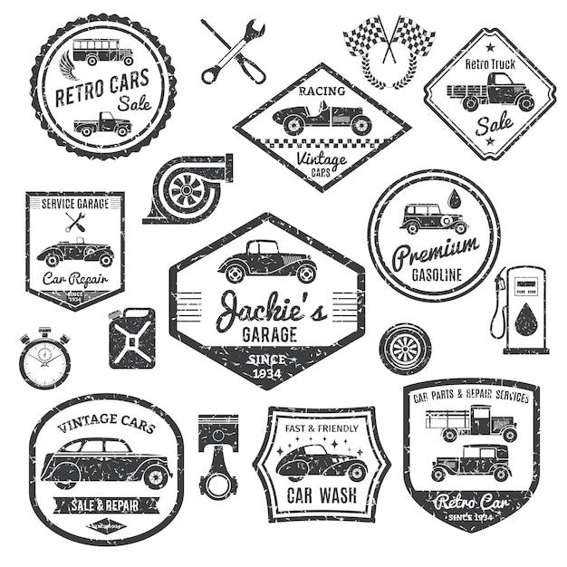 Zestaw etykiet samochodów retro Darmowych Wektorów