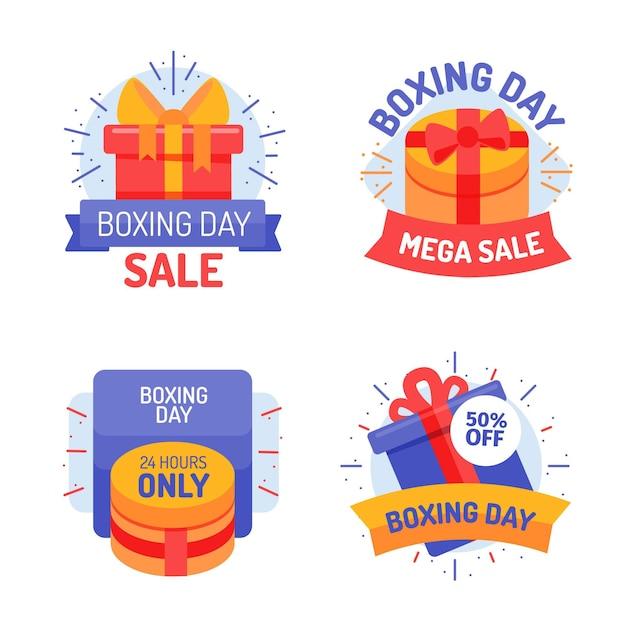 Zestaw Etykiet Sprzedaży Boxing Day Premium Wektorów