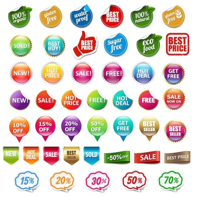 Zestaw Etykiet Sprzedaży I Rabatów Na Białym Tle Premium Wektorów